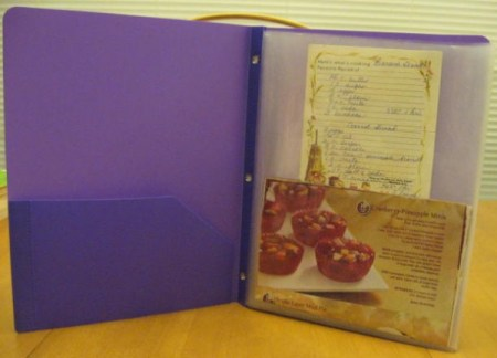 Binder with holiday recipes.