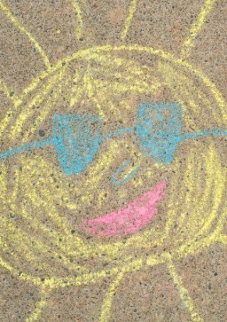 Sidewalk chalk drawing.