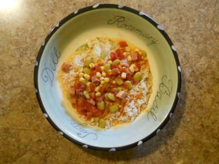 Succotash over rice.