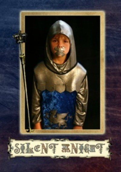 A Christmas card showing a knight with duct tape over his mouth