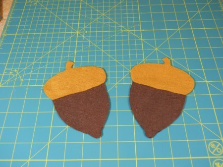 Acorn felt pieces prior to sewing together.