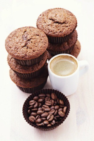 Stacks of cappuccino muffins.