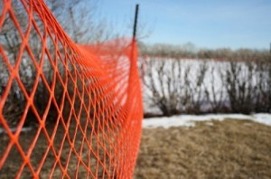 An orange snow fence