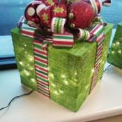 Gift box decoration with lights inside.