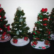 Small decorated Christmas trees.