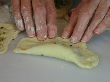stretching dough