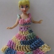 Polly Pocket in crochet outfit.