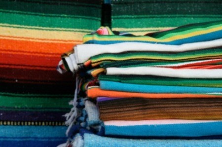 A stack of Mexican blankets.