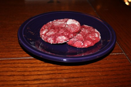 Plate of red cookies.