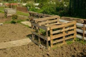 Compost pile made with wood pallets.