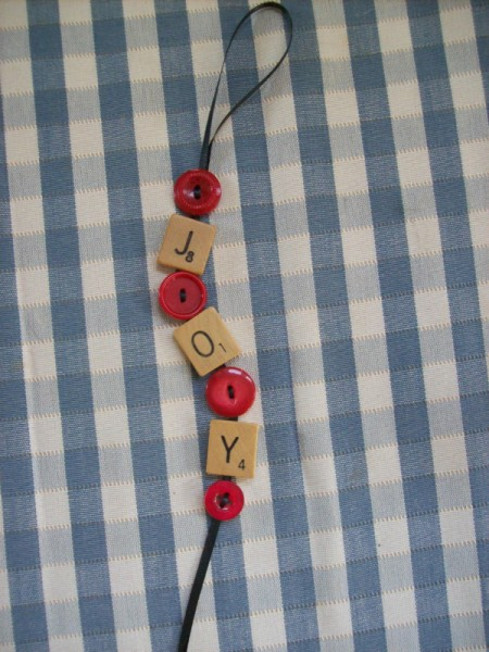 Joy Ornament made from Scrabble pieces
