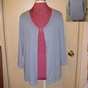 Cardigan made from altering a sweater.
