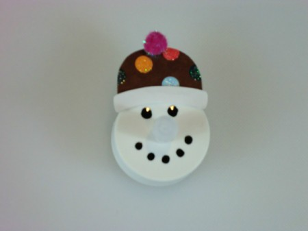 gglue hat on snowman