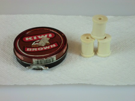 Shoe polish for staining and wooden spools.