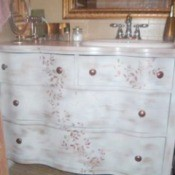 Bathroom vanity made from an old dresser.