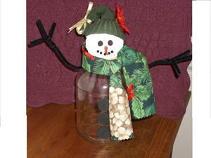 Recycled Jar Snowman