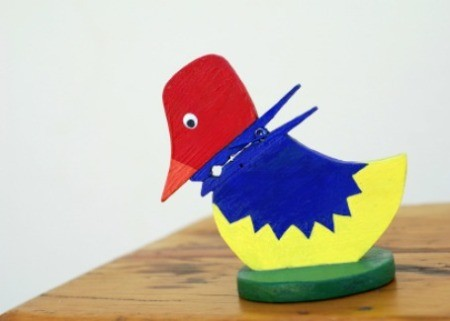 A cute bird made with a clothespin.