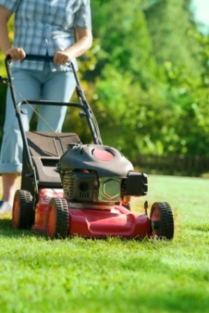 A person mowing the lawn