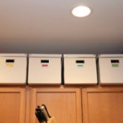 boxes on cabinet