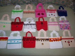 An array of red, white, pink, and blue mini totes.