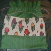 Homemade pull string bag.