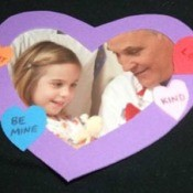 Heart shaped foam frame magnet.