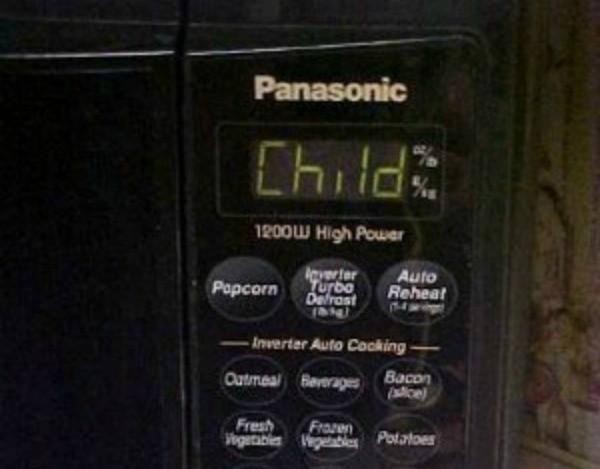 Microwave Says Child On Display