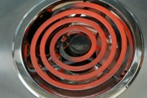Burner with clean drip pans.