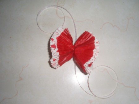 Love Through the Years Wreath - Cupcake liner bow.
