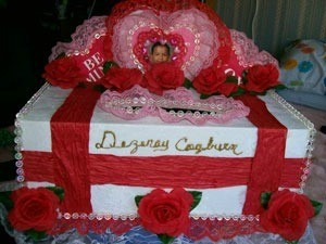 Decorated Valentine's Day mailbox.