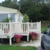 Photo of static caravan from driveway.