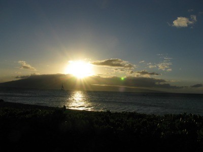 Flash Of Green At Sunset (Maui)