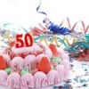 50th birthday party cake and decorations.