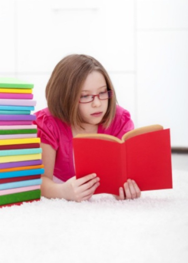 a smart girl reading