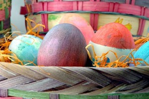 basket of dyed eggs