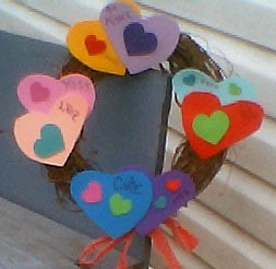 colorful hears on a wreath
