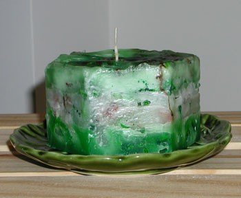 speckled homemade candle