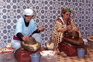 women preparing argan oil