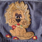 Punch embroidery lion.