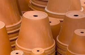 stacks of terra cotta pots