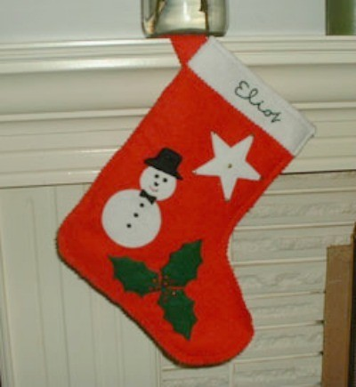 Stocking hanging on mantle.
