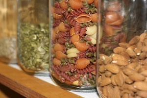 jars with dried foods