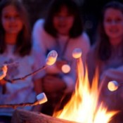 marshmallows over a campfire