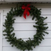 Wreath hanging on house.