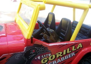 Frog driving small car