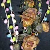 Mini lites in floral arrangement.