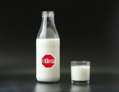 Avoiding Lactose, Milk with Stop Sign on Bottle