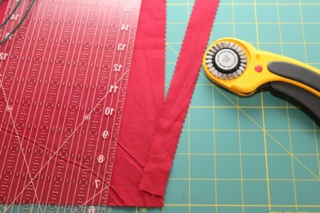 cutting the fabric strips