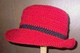Crochet hat with brim.