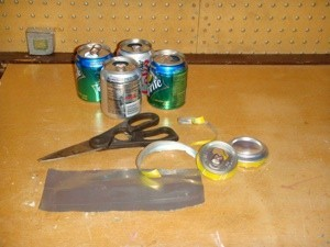 cutting the soda cans